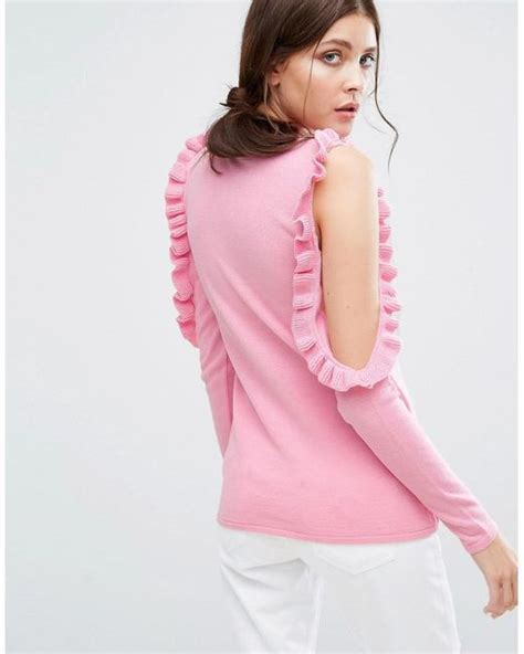 pink the shoulder sweater boohoo ruffle cold shoulder knit sweater in pink lyst