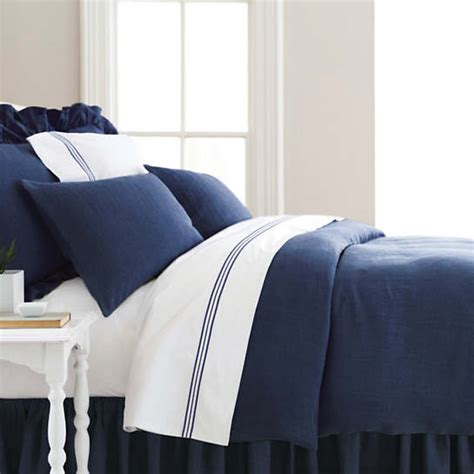 stone washed linen indigo duvet cover pine cone hill