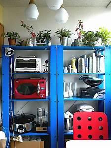 ikea gorm shelves, painted blue Get Organized