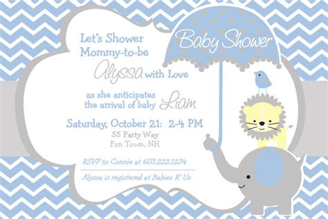 Something Blue Themed Bridal Shower by Elephant Baby Shower Invitation Chevron By