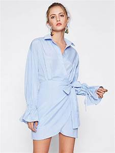 robe shirt avec manchette cloche avec cordon french romwe With robe cloche