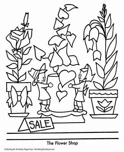 Coloring Shopping Pages Christmas Flower Drawing Sheets