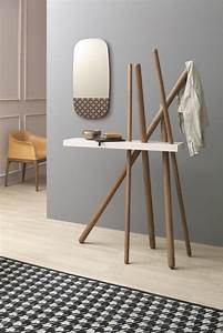 Wood Hallway Console And Coat Hanger In One