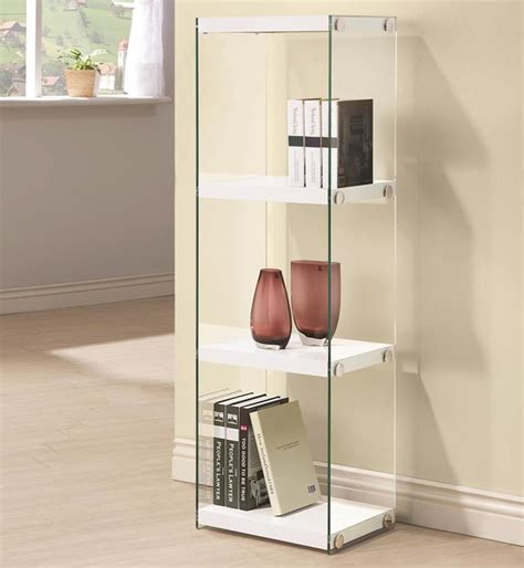Contemporary Three Shelf Bookcase with Glass Shelves and Side Panels ? All Nations Furniture