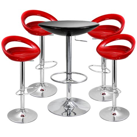 black table red chairs red crescent bar stool chairs and black round bistro