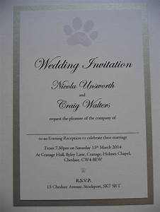 silver white cute paw print themed wedding invitations With white and silver wedding invitations pinterest