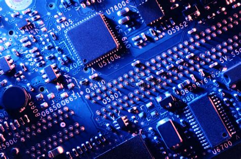 Blue Printed Circuit Board Top View Stock Image