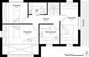plan maison 100 m2 avec 4 chambres ooreka With plan etage 4 chambres