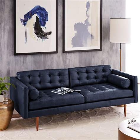 mid century leather sofa 80 quot west elm