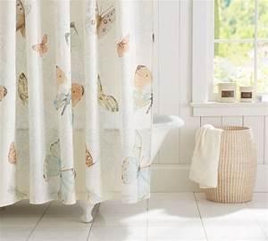 Butterfly shower curtain pottery barn bathroom pinterest for Butterfly shower curtain pottery barn