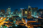 View of the downtown Baltimore skyline at night, in ...