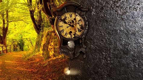 time  nature  clock   tree autumn season