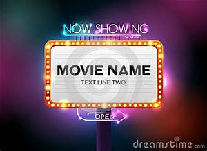 Theater Sign And Neon Light Stock Vector Image