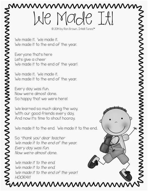 we made it end of the year song use for classroom 754 | 9e9c8c1d9132b171fb60bba5df374e78 preschool poems preschool class