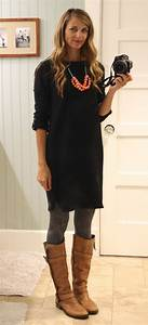 Black shirt dress with gray sweater tights cognac boots ...