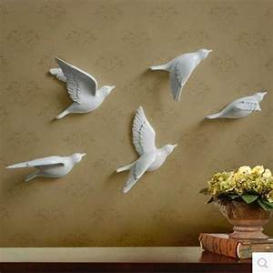 resin bird creative wall murals wall decoration simple With bird wall decor