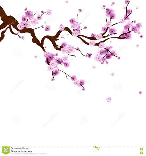 Watercolor Sakura Background With Blossom Cherry Tree