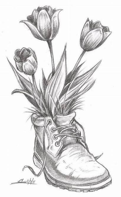 Pencil Sketch Drawings Practice Dumbfounding Flowers