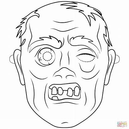 Zombie Mask Coloring Halloween Outline Colorare Maschere
