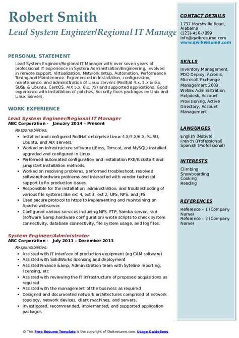 system engineer resume samples qwikresume