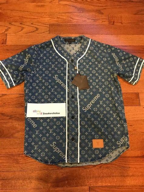louis vuitton x supreme lv monogram blue denim baseball jersey medium m ebay