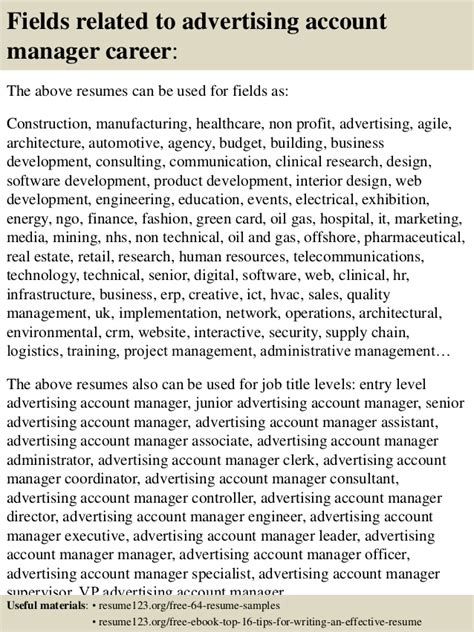 top 8 advertising account manager resume sles