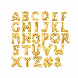 14quot metallic gold letter balloons gold number balloons With alphabet balloon letters