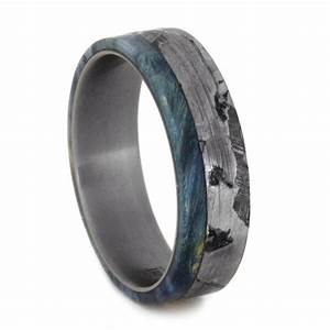 seymchan meteorite wedding band with blue box elder burl With mens wedding ring meteorite