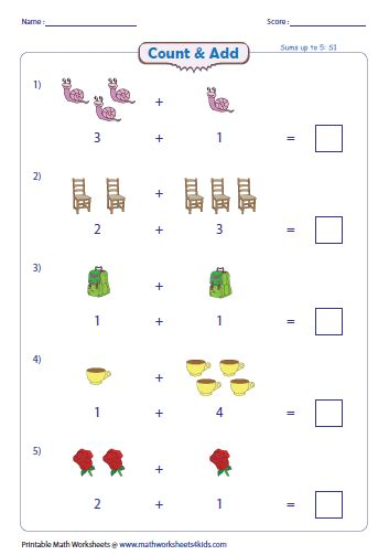 addition  pictures worksheets