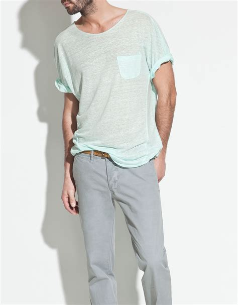 zara linen tshirt in blue for lyst