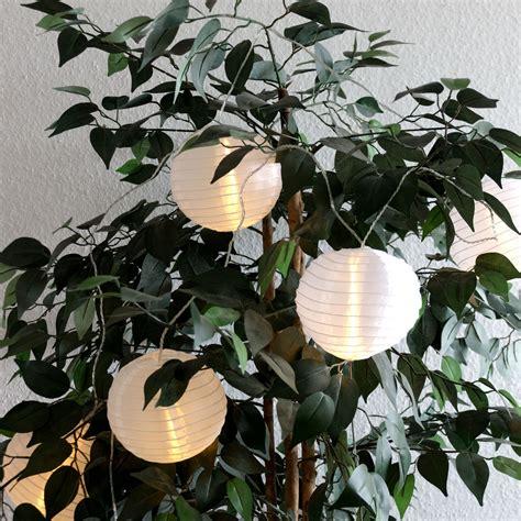 Garten Lampion Lichterkette Lampionkette Weiß 30 Leds