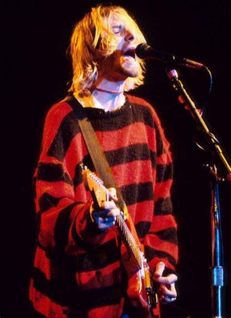 kurt cobain striped sweater red  black knit