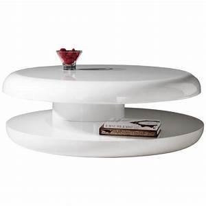Table Blanche Design : table basse design ronde laque blanche plateau tournant achat vente table basse table basse ~ Teatrodelosmanantiales.com Idées de Décoration