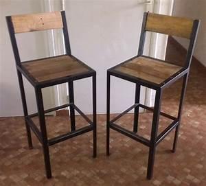 Tabouret De Bar Metal : tabouret bar bois metal cuisine en image ~ Teatrodelosmanantiales.com Idées de Décoration