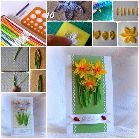 diy beautiful quilling daffodils greeting card
