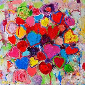 Abstract Love Bouquet Of Colorful Hearts And Flowers ...