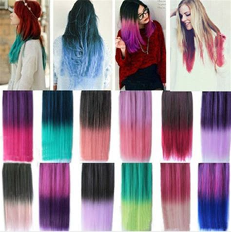 24 Rainbow Color Hair Extensions Straight Synthetic 34