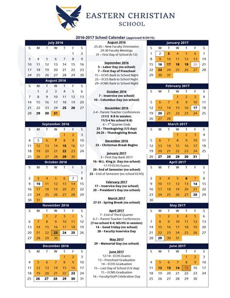 school calendar approved eastern christian school