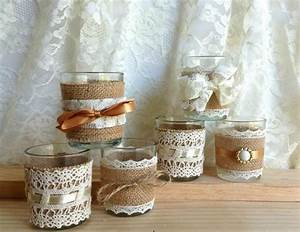 Burlap and lace covered votive tea candles country chic for Burlap and lace wedding decorations
