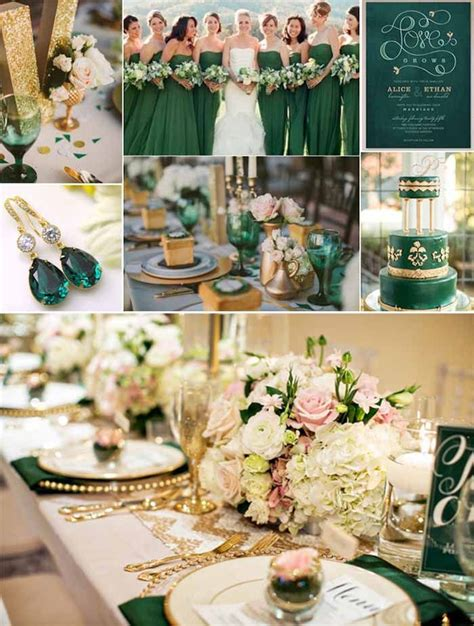 emerlad green and gold wedding ideas Purple and gold