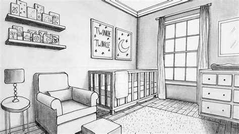 Drawing A Bedroom In Perspective by Drawing In Two Point Perspective Nursery Room How To