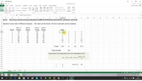friedman two way anova non parametric test in excel