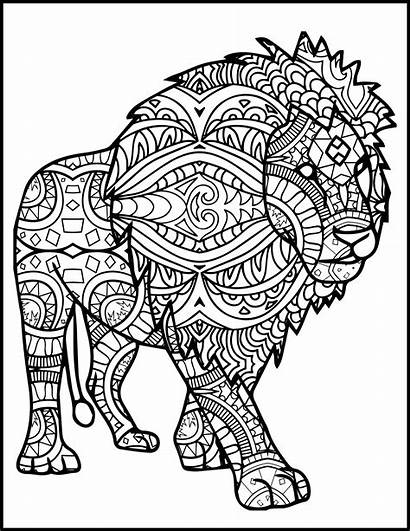 Mandala Coloring Lion Pages Printable Adults Animal