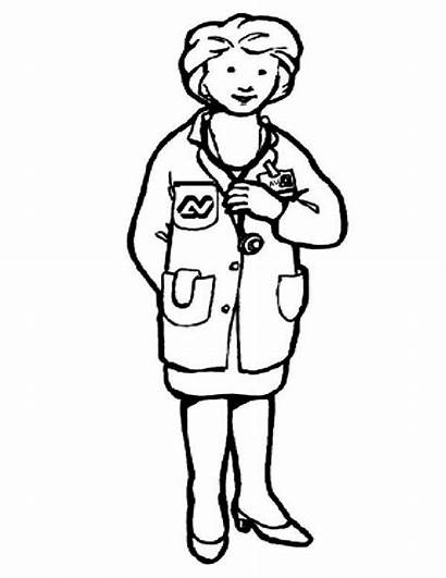 Doctor Coloring Community Helpers Female Pages Printable