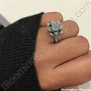 the small crimson rose flower diamond engagement ring With rose wedding ring