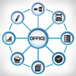 Office Network Diagram Stock Illustration