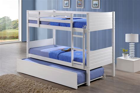 jupiter white single bunk beds with trundle bed