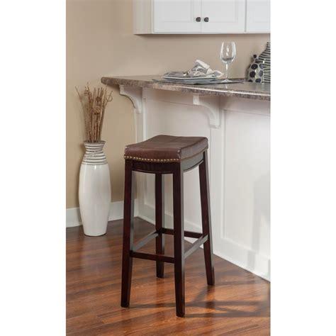 dark brown wood cushioned bar stool square seat