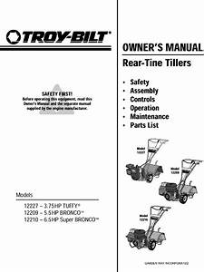 Troybilt 12209 User Manual Tiller Manuals And Guides L0401048