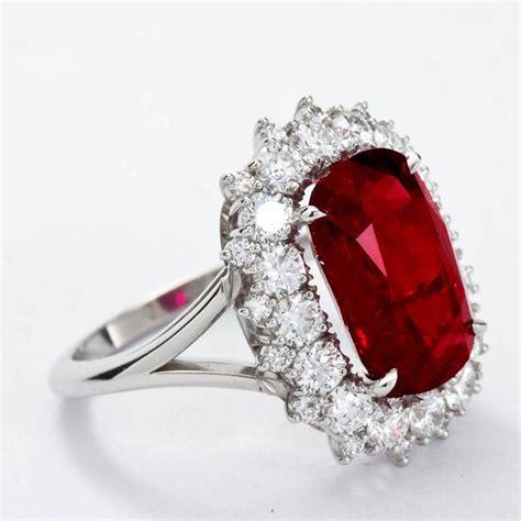 5 95 carat cushion cut pigeon blood no heat ruby ring grs